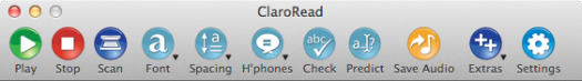Claroread for Mac V5 Toolbar