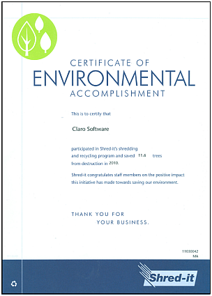 Shred-it Certificate