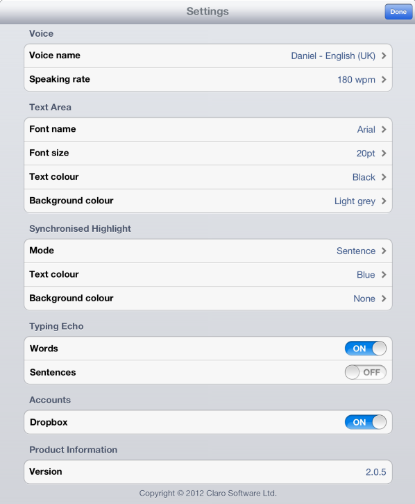 ClaroSpeak Settings Menu